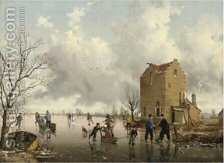 The frozen lake by (after) Jan Jacob Spohler - Reproduction Oil Painting