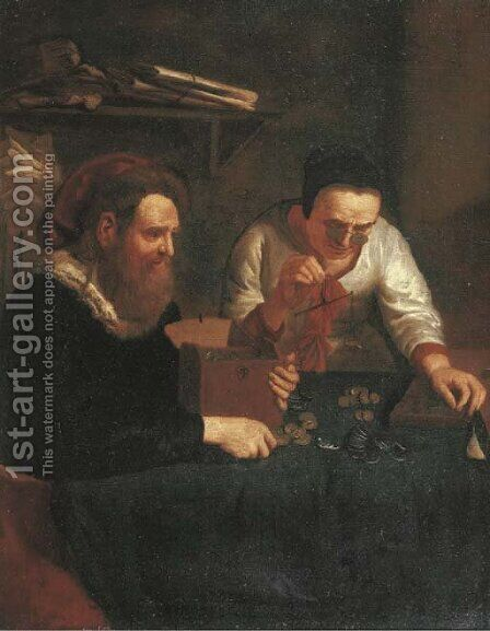 An old woman counting money for a gentleman by (after) Jan Josef, The Elder Horemans - Reproduction Oil Painting