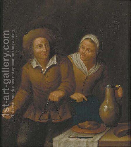 A peasant couple in an interior by (after) Jan Jozef, The Younger Horemans - Reproduction Oil Painting
