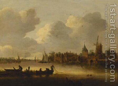 A river landscape with fishermen hauling in their nets, a village beyond by (after) Jan Van Goyen - Reproduction Oil Painting