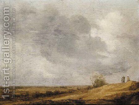 Peasants on a dune overlooking an extensive landscape by (after) Jan Van Goyen - Reproduction Oil Painting
