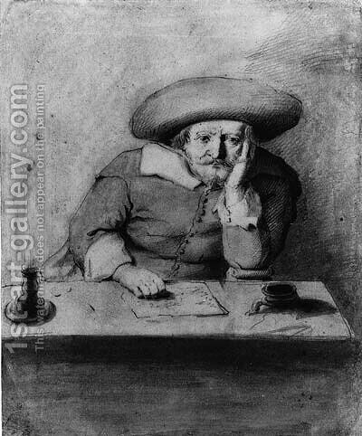A pondering Man in a Hat at a candle-lit Table by (after) Jan Lievens - Reproduction Oil Painting