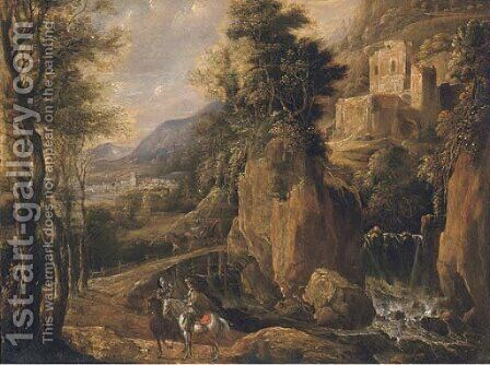 A wooded landscape with travellers on a path by a waterfall by (after) Jan Looten - Reproduction Oil Painting