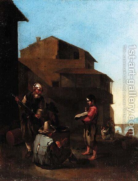 An Italianate town with peasants cooking at a fire by (after) Jan Miel - Reproduction Oil Painting