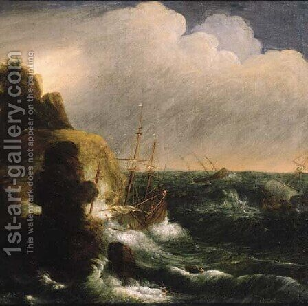 A threemaster foundering off a rocky coast, in a gale by (after) Jan Peeters - Reproduction Oil Painting
