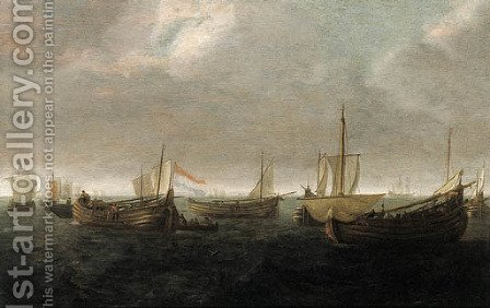 Wydships at anchor offshore on a cloudy day by (after) Jan Porcellis - Reproduction Oil Painting