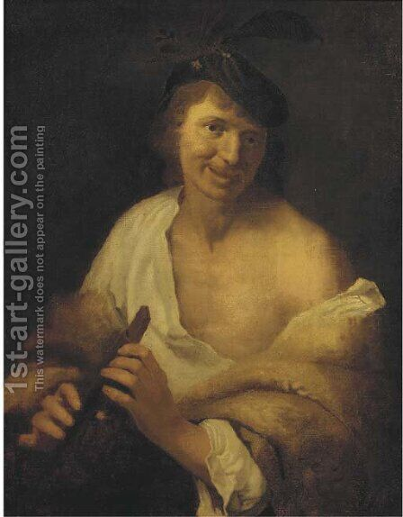 A flute player by (after) Jan Van Bijlert - Reproduction Oil Painting