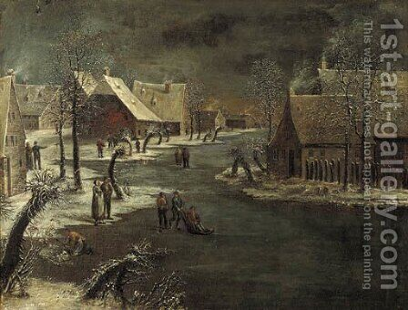 A winterlandscape with skaters on a frozen waterway in a village by (after) Jan Van De Capelle - Reproduction Oil Painting
