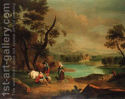 A drover with cattle and a traveller resting in a river landscape by (after) Jan Van Der Bent - Reproduction Oil Painting