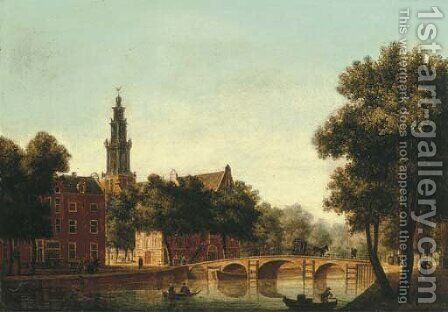 The Westerkerk, Amsterdam, seen from the Keizersgracht by (after) Jan Van Der Heyden - Reproduction Oil Painting