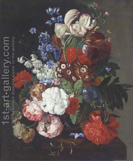 Flowers in a vase on a table by (after) Huysum, Jan van - Reproduction Oil Painting