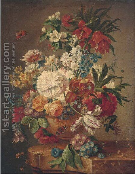Roses, tulips, morning glory, narcissi and other flowers in an urn on a marble ledge with butterflies by (after) Huysum, Jan van - Reproduction Oil Painting