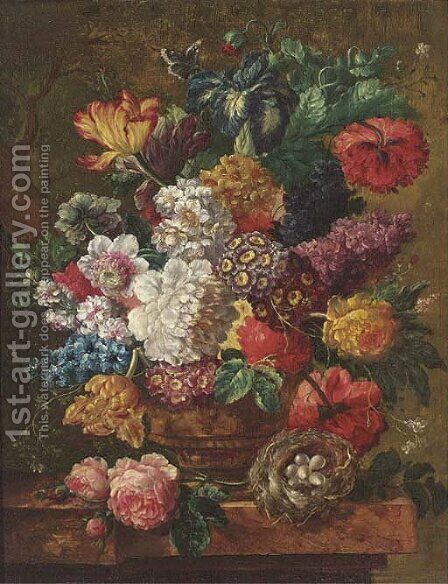 Summer flowers in a vase, with a bird's nest to the side, on a ledge by (after) Jan Van Os - Reproduction Oil Painting