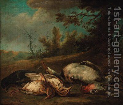 A dead blackbird, a chaffinch, thrushes and a heron in a landscape by (after) Jan Vonck - Reproduction Oil Painting