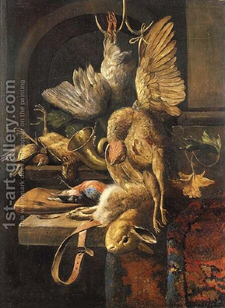 A dead pheasant and a dead pigeon by (after) Jan Weenix - Reproduction Oil Painting