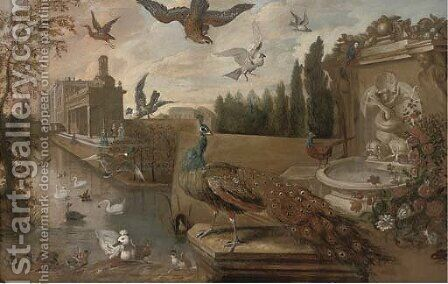 A landscaped garden with a peacock by a fountain with ducks by (after) Jan Weenix - Reproduction Oil Painting