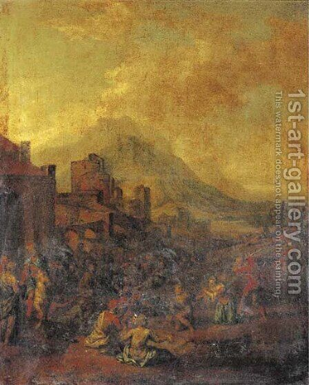 A captured city with prisoners being executed by (after) Jan Wyck - Reproduction Oil Painting