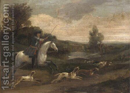 A hunting party in full cry by (after) Jan Wyck - Reproduction Oil Painting