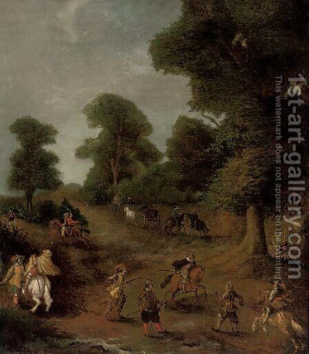 A wooded landscape with travellers under siege by (after) Jan Wyck - Reproduction Oil Painting