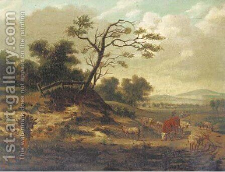 A dune landscape with sheep, a cow and figures on a track by (after) Jan Wynants - Reproduction Oil Painting