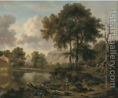 A wooded river landscape with travellers on a road, a village beyond by (after) Jan Wynants - Reproduction Oil Painting