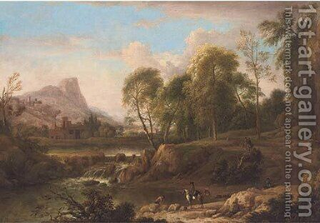 An extensive mountain landscape with horsemen on a track and bathers in a river, a town beyond by (after) Jan Wynants - Reproduction Oil Painting