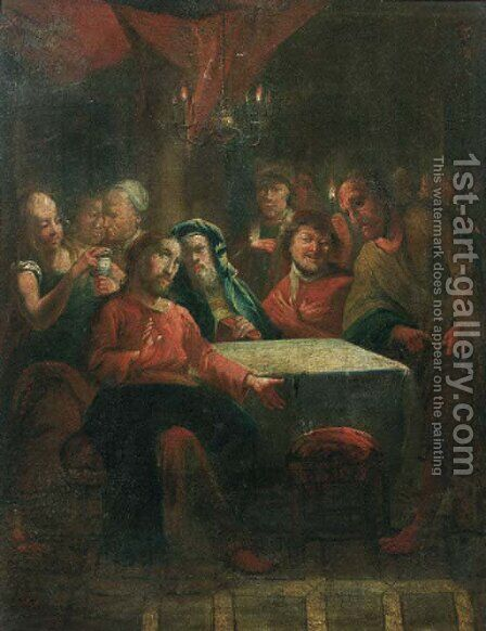 Christ at Emmaus by (after) Januarius Zick - Reproduction Oil Painting