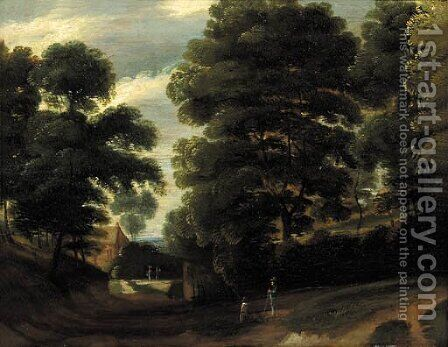 Travellers on a road in a wood, a farm beyond by (after) Jaques D'Arthois - Reproduction Oil Painting