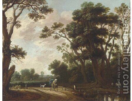 A landscape with a traveller and a dog on a track by (after) Jasper Van Der Lanen - Reproduction Oil Painting