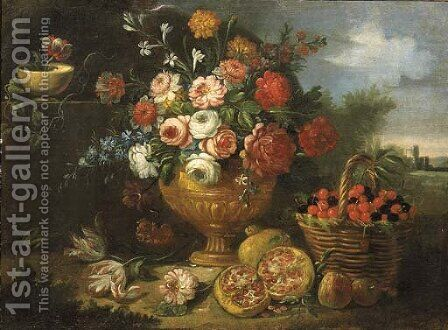 Mixed flowers in a vase with cherries in a basket by (after) Jean-Baptiste Monnoyer - Reproduction Oil Painting