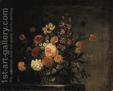 Roses, tulips, carnations and other flowers in a basket on a stone ledge by (after) Jean-Baptiste Monnoyer - Reproduction Oil Painting