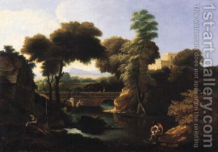 Bathers by a river, in an Italianate landscape by (after) Jean-Francois Millet - Reproduction Oil Painting