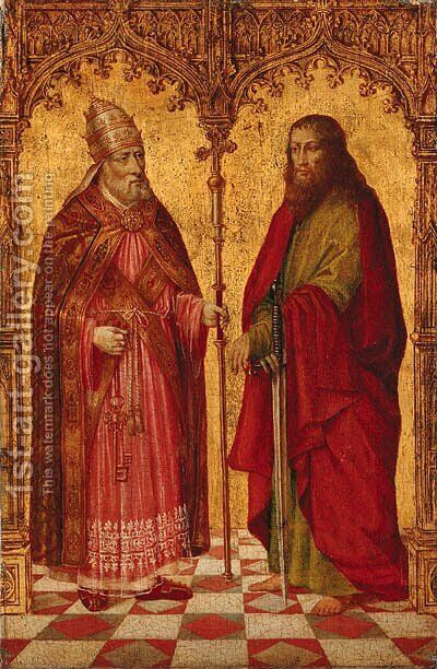 Saints Peter and Paul in a feigned Gothical portico by Master of Moulins  (Jean Hey) - Reproduction Oil Painting