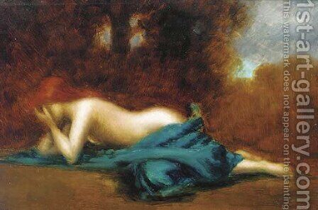 An allegory of sorrow by (after) Jean-Jacques Henner - Reproduction Oil Painting