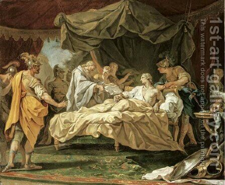 The Death of Alexander the Great by (after) Jean II Restout - Reproduction Oil Painting