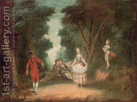 A fete champetre 2 by (after) Watteau, Jean Antoine - Reproduction Oil Painting
