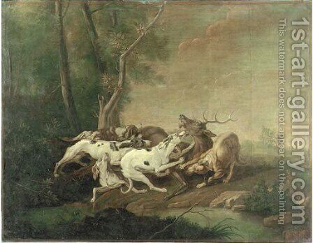 Hounds attacking a stag by (after) Jean-Baptiste Oudry - Reproduction Oil Painting