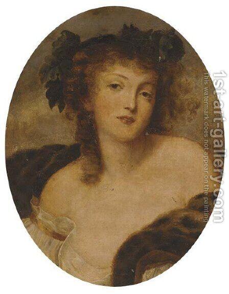 A Bacchante by (after) Greuze, Jean Baptiste - Reproduction Oil Painting