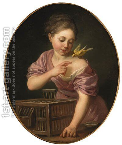 A girl with a canary and an open cage by (after) Greuze, Jean Baptiste - Reproduction Oil Painting
