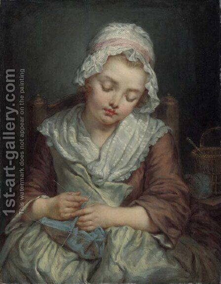 La Dormeuse by (after) Greuze, Jean Baptiste - Reproduction Oil Painting