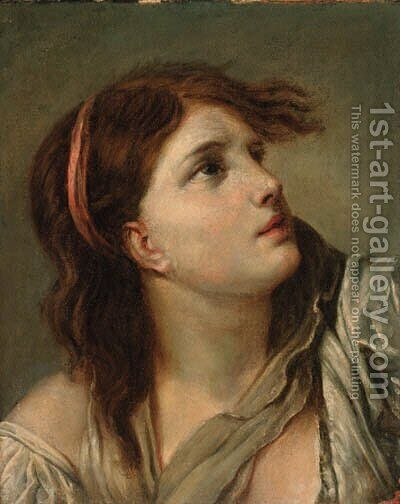Portrait of a young lady - head and shoulders by (after) Greuze, Jean Baptiste - Reproduction Oil Painting