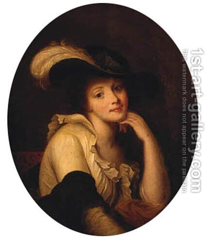 Portrait Of A Young Lady, Bust-Length, Wearing A Feathered Hat by (after) Greuze, Jean Baptiste - Reproduction Oil Painting