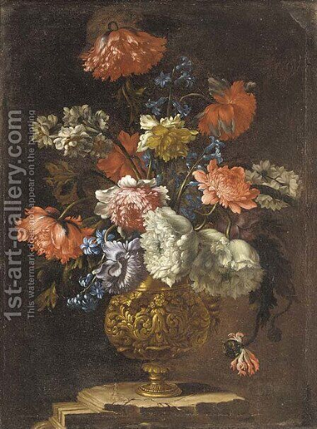 Carnations, narcissi, morning glory and peonies in a gilt vase on a ledge by (after) Jean-Baptiste Monnoyer - Reproduction Oil Painting