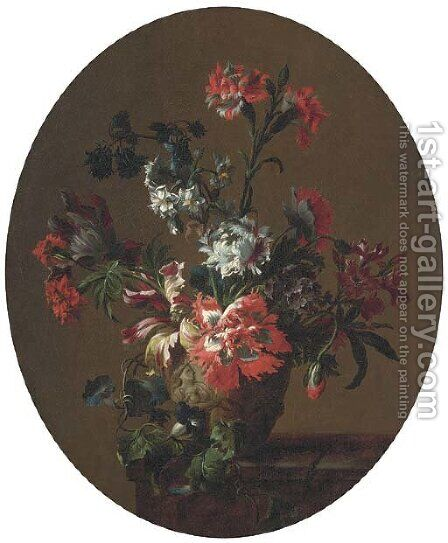 Carnations, parrot tulips, poppies, morning glory and other flowers by (after) Jean-Baptiste Monnoyer - Reproduction Oil Painting