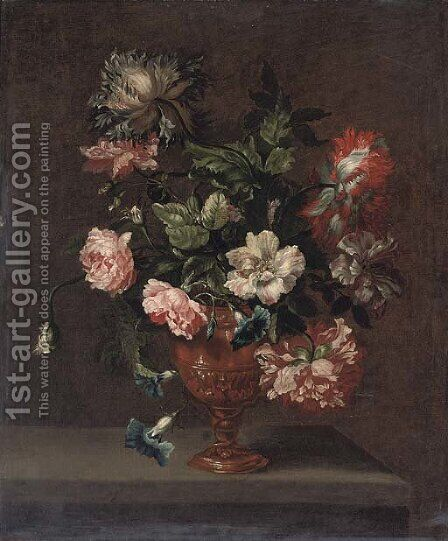 Roses, peonies and convulvulus in a sculpted urn on a stone ledge by (after) Jean-Baptiste Monnoyer - Reproduction Oil Painting