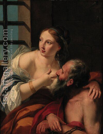 Roman Charity by (after) Jean Francois De Troy - Reproduction Oil Painting
