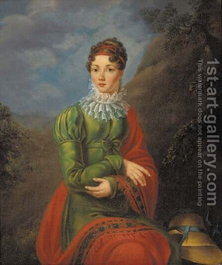 Portrait of a lad in a green dress and red shawl by (after) Jean-Laurent Mosnier - Reproduction Oil Painting