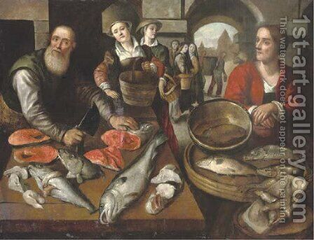 Peasant women buying fish at a fishmonger by (after) Joachim Beuckelaer - Reproduction Oil Painting