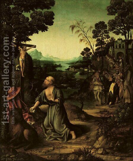 The Penitent Saint Jerome in the wilderness by (after) Joachim Patenier (Patinir) - Reproduction Oil Painting