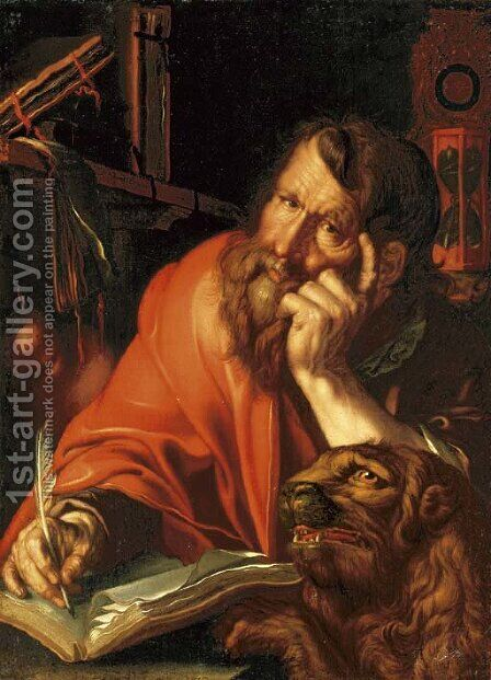 The Evangelist Mark by (after) Joachim Wtewael (Uytewael) - Reproduction Oil Painting